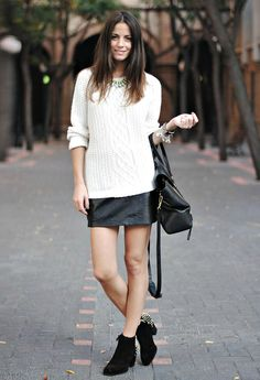 white sweater leather skirt