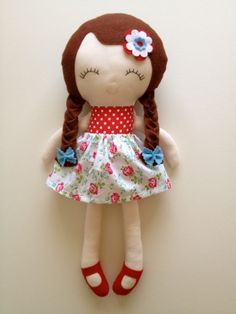 Pretty Red white & Blue Jubilee doll - using a mix of patterns (ballerina/schoolgirl)