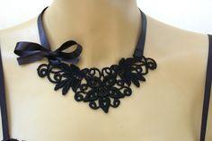 Collar de encaje gargantilla de encaje negro por vintagebynina