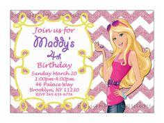 Barbie Invitation Barbie Birthday Party by DesignsbyLyssaLou