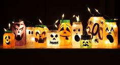Halloween fun, in jars. Saves on carving pumpkins every year!
