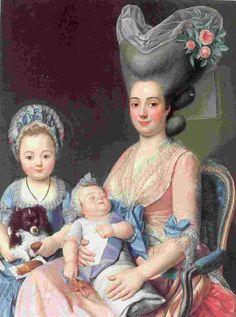Antoine Raspal: Madame Privat de Molières et ses filles (huile sur toile) 1775-1780