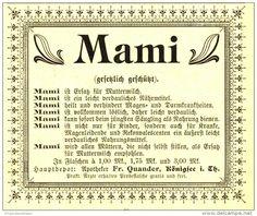Original-Werbung/ Anzeige 1899 - MAMI MUTTERMILCH- ERSATZ / APOTHEKER FR. QUANDER KÖNIGSEE - ca. 110 x 80 mm