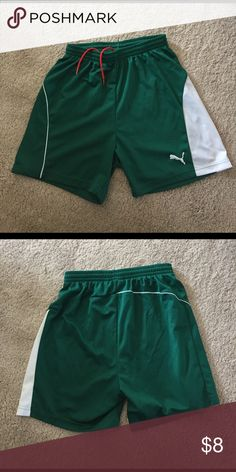 Puma Soccer Shorts. St Patrick's Day Classic soccer shorts. Gently used but in great condition! Forest green and white Puma Shorts