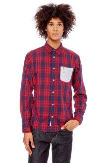 Camisa aos quadrados<br>Vermelho e azul-marinho