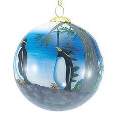 Glass Ball Penguin Ornament