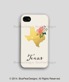 Texas Iphone Case Custom State Iphone Case by BluePearDesigns