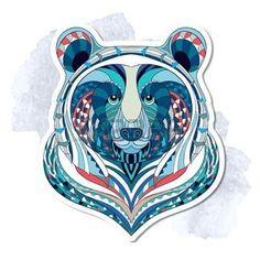 indian bear: Patterned head of bear on the grunge background. African indian totem tattoo design. It may be used for design of a t-shirt, bag, postcard, a poster and so on.