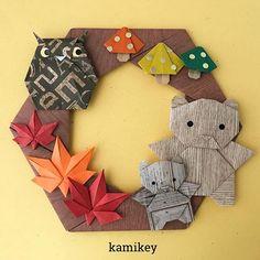 """秋リース第二弾紅葉は一か所切り込みを入れるんですが、そのぶん簡単に作れます^ ^ ✳︎ 「ふくろう」「くま」「もみじ」「きのこ」「六角リース」の作り方動画は、YouTubeの""""kamikey origami""""でご覧ください(プロフィールにリンクがあります) ✳︎ Wreath designed by me Tutorial on YouTube """"kamikey origami """" #origami #折り紙 #kamikey"""