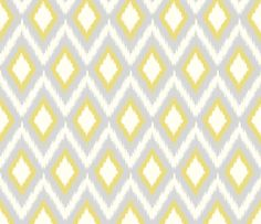 Gray and Yellow Tribal Ikat Chevron fabric by sweetzoeshop on Spoonflower - custom fabric