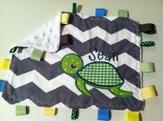 Baby Girl or Boy Grey Chevron ZigZag Turtle Taggie Lovey Mini Blanket with Reversible Minky on Back FREE Personalization