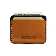 Slim Leather Wallet with cash and credit card by AtelierPall.com