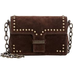 Tomas Maier Varzo Shoulder Bag (5.564.055 IDR) ❤ liked on Polyvore featuring bags, handbags, shoulder bags, brown, chain shoulder bag, leather shoulder bag, genuine leather handbags, studded purse and chain strap purse