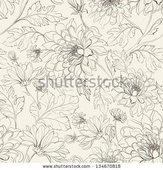 Seamless floral pattern with chrysanthemums. Vector illustration. by Kotkoa, via Shutterstock
