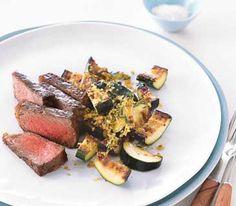 dinner under 400 calories, steak with golden zucchini