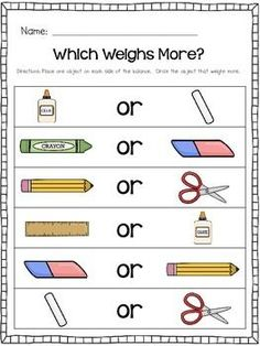 Kindergarten Measurement: Comparing two objects in Weight (Could be both Math and Science) Measurement Kindergarten, Measurement Activities, Math Measurement, Kindergarten Math Activities, Preschool Science, Homeschool Math, Kids Math, Homeschooling, Curriculum