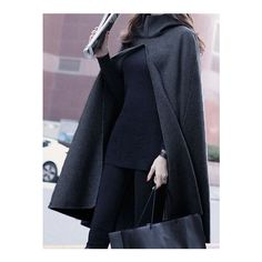 Grey Hooded Loose Cape Coat (£23) ❤ liked on Polyvore featuring outerwear, coats, blue cape, blue cape coat, blue coat and cape coat