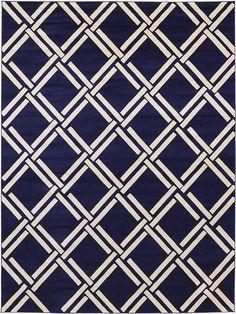 Navy Blue Trellis Area Rug