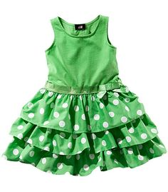 Cotton girls summer dress green with polka dots hm.com 12,95