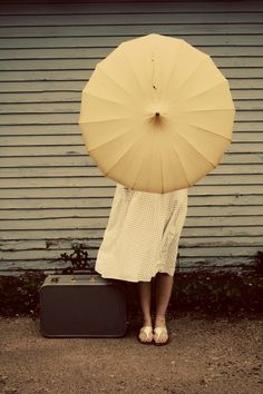 leaving town in polka dots w/ parasol Rain Umbrella, Under My Umbrella, Grandma Dress, Umbrella Photography, Brollies, Umbrellas Parasols, Shades Of Yellow, Mellow Yellow, Belle Photo