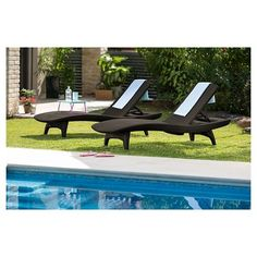 Pacific Sun 2-Pack Lounger with Table - Brown - Keter, Whiskey Brown