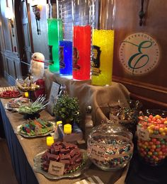 Harry Potter Candy Table! House points, candy labels, and just enough details for HP fans {Michelle & Emmanuel} on their wedding day!
