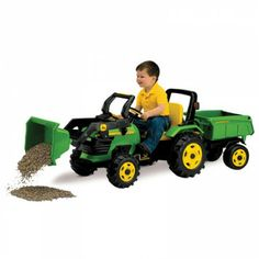 John Deere Plastic Riding Tractor with Loader and Trailer