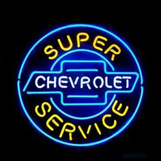 #Chevrolet_super service #Neon_Sign are perfect piece for a #chevy fan to hang in the man cave shed bar pool room or workshop produced with high quality. It is produced with high quality #neon_tubes and #metal_grid.