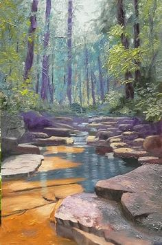 Fiery Gizzard Creek by Tommy Thompson Oil ~ 36 x 24 Watercolor Landscape, Landscape Art, Landscape Paintings, Watercolor Paintings, Nature Paintings, Oil Paintings, Tommy Thompson, Painting Competition, Ponds Backyard