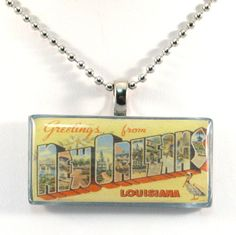 Vintage large Letter Postcard Pendant  Greetings from New by 12be, $14.50