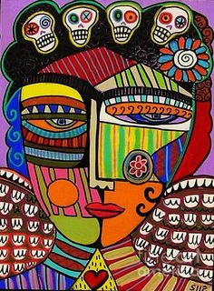 Day of the Dead Purple Frida Angel by Sandra Silberzweig Tie in Picasso style with this Abstract Portrait, Abstract Art, Sandra Silberzweig, Day Of The Dead Art, Naive Art, Mexican Folk Art, Outsider Art, Art Plastique, Teaching Art