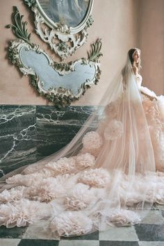 11 Wedding Veil Styles and Lengths to Know Before You Accessorize - Thinking of rocking this iconic wedding accessory? Get to know the difference between blusher, birdcage, cathedral, and other types of veils right here. royal veil, elegant {KT Merry Photography/Courtesy of Monique Lhuillier} Fall Wedding Dresses, Colored Wedding Dresses, Tulle Wedding, Wedding Gowns, Wedding Veil, Monique Lhuillier Bridal, Traditional Gowns, Lela Rose, Bridal Fashion Week