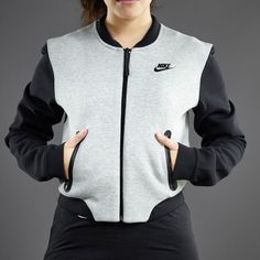 Nike Sportswear Womens Tech Fleece Bomber Jacket - 3mm - Dark Grey Heather / Black. Nice. A real bomber jacket would be good, too.