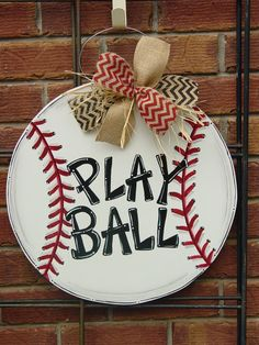 Large Baseball or Softball Wood Door Hanger Wall Decor Sign Angelenes Collection : Large 20 Baseball or Softball Wood Door by AngelenesCollection Wooden Door Hangers, Wooden Doors, Wooden Signs, Letter Door Hangers, Baseball Wreaths, Baseball Crafts, Baseball Signs, Baseball Mom, Baseball Decorations