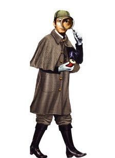 Write your clues down here! A die-cut blank notecard of Sherlock Holmes with a color sticker sheet for you to dress him up with.