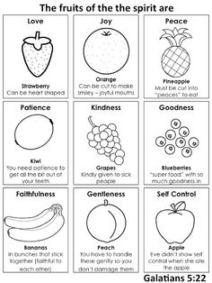 other ideas at this site too When doing fruits of the spirit this summer go to this website. Awesome ideas included with this sheet included Godly play. Sunday School Activities, Sunday School Lessons, Sunday School Crafts, Sunday School Snacks, Bible Lessons For Kids, Bible For Kids, Bible Activities For Kids, Bible Games, Preschool Ideas