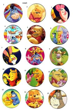 winnie the pooh bear 30 Precut Bottlecaps Images 1 inch Circle scrapbook Party