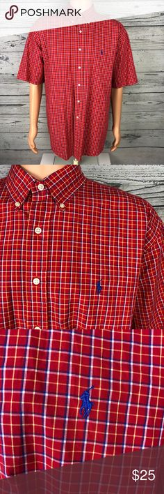 Ralph Lauren  Men s Plaid Button up Shirt-Red XL This is a for 5260fe31eb2