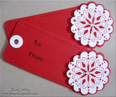 Tags_Red_Snowflake - use scallop circle punch