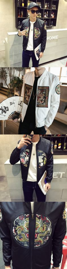 Dragon Bomber Jackets Chinese Baseball Bomber Jackets White Black Luxury Collar Robes Jackets Embroidery Chaqueta Vintage Hombre