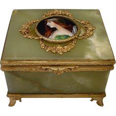 """Antique French Onyx Gilt Bronze Jewelry Casket Box """"Enamel Miniature Portrait Plaque"""""""