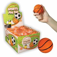 2 and a Half Inch Basketball Shaped Stress Balls from Windy City Novelties $10.70 per dozen