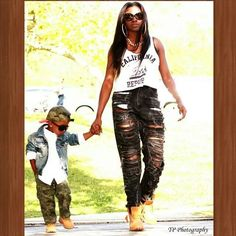 Fall fashion mother and son