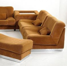 Chromed Metal, Corduroy and Mirrored Glass Lounge Suite,