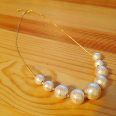 made the necklace with cotton pearl and glass beads to wear for my daughter's junior high school graduation..... 娘の卒業式につけるために、コットンパールとガラスビーズでネックレス作りました♪  #ハンドメイド #コットンパール #アクセサリー #handmade #accessories #cottonpearl #handmadeaccessory