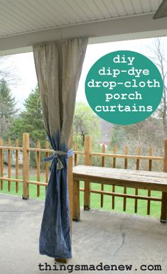 diy dip dye drop cloth curtains, porches, reupholster, window treatments, If you can sew even a little you can make these easy curtains to liven up your porch for summer