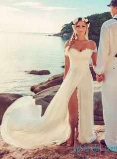 H1513 sexy boho chiffon beach wedding dress with slit skirt