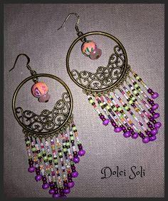 Boucles d'oreilles cheyenne vintage Multicolores