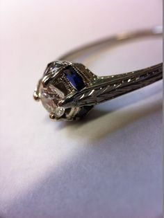 Finest Art Deco 18k Filigree Sparkly .50ct Diamond Sapphire Engraved White Gold #ArtDeco #ArtDecoOriginal