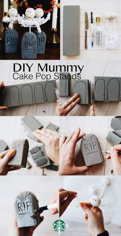 Starbucks Mummy Cake Pop Stands: 1) Cut headstone shapes out of floral foam with butter knife. 2) Use a pencil to write R.I.P. + add cracks, make sure lines are deep. 3) Blow off dust, paint headstone with grey acrylic craft paint—dry. 4) Mummy arms: double up craft wire or twist tie to desired arm length, wrap tightly around Cake Pop stick. 5) Crisscross-wrap wire arms with paper ribbon. Tie knot in back. 6) Push Cake Pop handle into headstones. 7.) Pick up Mummy Cake Pops in stores late…